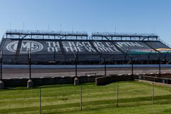 Indianapolis - Circa May 2018: Stands at Indianapolis Motor Speedway. IMS Prepares for the 102nd Running of the Indy 500 XIII. Stands at Indianapolis Motor stock images
