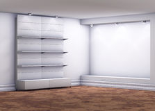 Stands with niche for exhibit in the grey interior Stock Photos