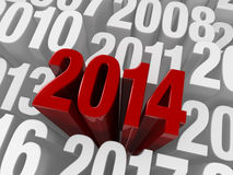 2014 stands out. A shiny bold, red 2014 extends past previous years in white Stock Images