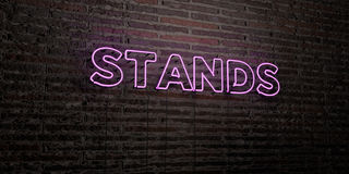 STANDS -Realistic Neon Sign on Brick Wall background - 3D rendered royalty free stock image Royalty Free Stock Photo