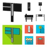 Stands and signs and other web icon in black, flat style.Limiters of traffic icons in set collection. Royalty Free Stock Photography