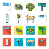 Stands and signs and other web icon in cartoon,flat style.Limiters of traffic icons in set collection. Royalty Free Stock Photos