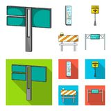 Stands and signs and other web icon in cartoon,flat style.Limiters of traffic icons in set collection. Stock Photos