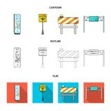 Stands and signs and other web icon in cartoon,outline,flat style.Limiters of traffic icons in set collection. Stands and Signs and other  icon in cartoon Royalty Free Stock Image