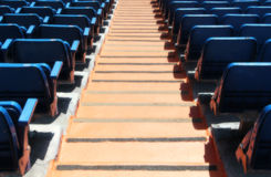 Stands of a stadium, with seats and stairs Royalty Free Stock Photos
