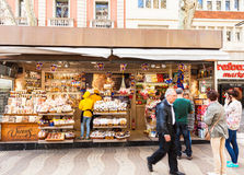 Stands with sweets at La Rambla Royalty Free Stock Images