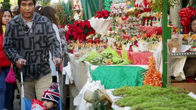 Stands with traditional Christmas gifts. BARCELONA, SPAIN - NOVEMBER 30, 2015: Stands with traditional Christmas gifts in Barcelona, Spain. Fira de Santa Llucia