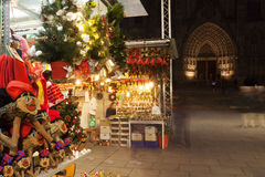 Stands with traditional Christmas gifts at Fira de Santa Llucia Royalty Free Stock Photo