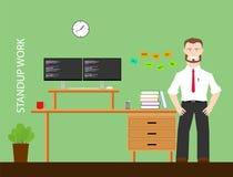 Standup Arbeit für gesunde Arbeit Stockbild