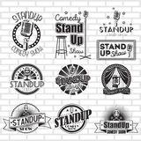 Standup comedy show vector labels design Royalty Free Stock Photography