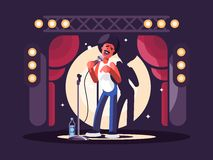 Standup show character design. Standup show design flat. Man with microphone on stage. Vector illustration Stock Image