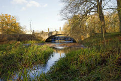 Stanford Hall Old Coach Bridge and Wier. Stanford on Avon on the Leicestershire, Northamptonshire boarder, England Stock Images