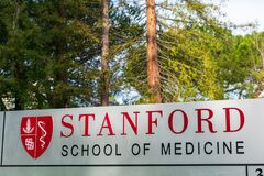Stanford School of Medicine sign at the entrance to medical campus building in Silicon Valley