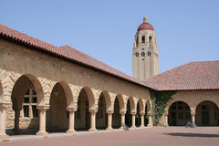 Stanford University Quad and Tower. The arches of the Quad at Stanford University, near Palo Alto, California. Hoover Tower and buildings against blue sky royalty free stock photos