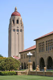 Stanford University Tower. Hoover Tower near the main quad at Stanford University, near Palo Alto, California. Tower and buildings against blue sky. Vertical Royalty Free Stock Images