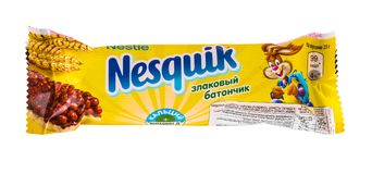 Stange Nestles Nesquikchocolate lokalisiert auf weißem Hintergrund Stockfotografie