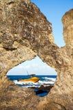 Stangen-Felsen-Ausblick und Australien-Felsen Narooma Australien Stockfoto