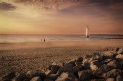 Stangen-Felsen-Leuchtturm neues Brighton lizenzfreie stockbilder