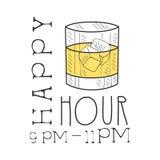 Stangen-glückliche Stunden-Förderungs-Zeichen-Design-Schablonen-Hand gezeichnete Hippie-Skizze mit Glas mit Whisky-und Eis-Würfel Lizenzfreies Stockbild