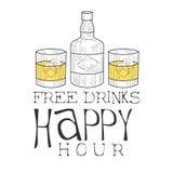 Stangen-glückliche Stunden-Förderungs-Zeichen-Design-Schablonen-Hand gezeichnete Hippie-Skizze mit Whisky-Flasche und zwei Gläser Stockfotografie