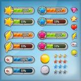 Stangen Spiel Ui Kit With Icons And Status Lizenzfreie Stockfotos
