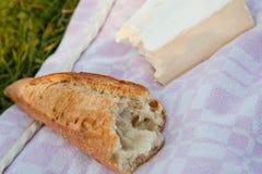 Stangenbrot und Brie auf Picknickdecke Lizenzfreies Stockbild