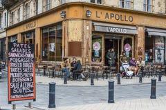 Stangenterrasse von Apollo-Café im Bordeaux aquitaine frankreich Lizenzfreies Stockfoto
