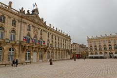 The Stanislas Place in Nancy. The Place Stanislas is a large pedestrianized square in the French city of Nancy, in the Lorraine region. The place is 125 meters Stock Photo