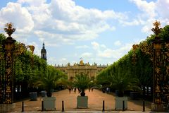 The stanislas place in nancy. Under clouds and sun Royalty Free Stock Photography