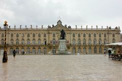 The stanislas place in nancy. Under clouds and sun Royalty Free Stock Images