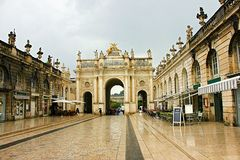 The stanislas place in nancy. Under clouds and sun Stock Photo