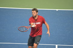 Stanislas Wawrinka dans l'US Open Flushing Meadows 2014 Photos libres de droits