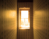 STANLEY. A window inside an old house in the middle of the picture Stock Photography