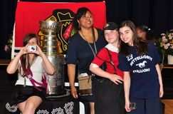 Stanley Cup displayed in Chicago Public School Stock Image