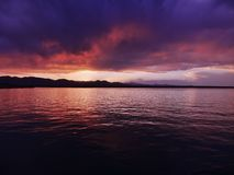 Stanley Lake in Arvada, Colorado at Sunset. With vibrant colors with mountains in background stock photography
