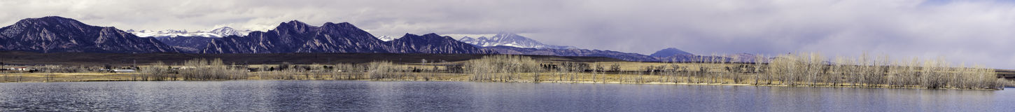 Stanley Lake Panorma. A view across Stanley Lake in arvada Colorado looking and longs peak and the Flatirons Stock Photo