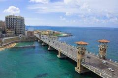 Stanley most w Pięknym Pogodnym zima dniu z tłem morze śródziemnomorskie zdjęcia stock