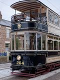 STANLEY, okręg administracyjny DURHAM/UK - STYCZEŃ 20: Stary tramwaj przy północą o Obrazy Royalty Free
