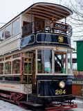STANLEY, okręg administracyjny DURHAM/UK - STYCZEŃ 20: Stary tramwaj przy północą o Zdjęcia Royalty Free
