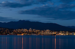 Stanley Park in the evening, Beautiful view of Vancouver. Beautiful view of Vancouver skyline with famous Stanley Park in scenic golden evening light at sunset Stock Photography