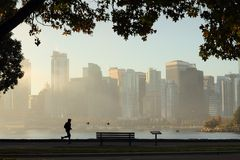 Stanley Park Morning Jog, Vancouver Stock Photo