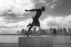 Stanley Park och Vancouver horisont Harry Jerome skulptur Cana royaltyfri fotografi