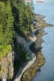 Stanley Park seawall from the Lion`s Gate bridge - July 15/2008 stock photo