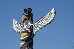 Stanley Park Totem Pole, Stanley Park, Vancouver, Canada. The Stanley Park Totem Poles at Brockton Point are one of BC's most visited tourist attractions royalty free stock photo