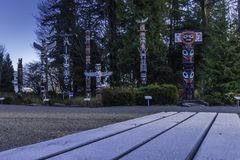 Stanley Park totem poles on a cold December morning stock photos