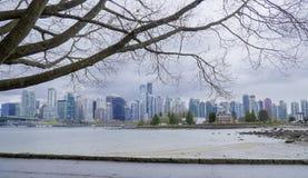 Stanley Park Vancouver med en härlig sikt över staden - VANCOUVER - KANADA - APRIL 12, 2017 Royaltyfria Bilder