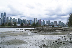 Stanley Park Vancouver with a view over the skyline - VANCOUVER - CANADA - APRIL 12, 2017 Royalty Free Stock Photography