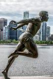 Stanley parkerar Vancouver Kanada harry den jerome statyn Arkivfoto