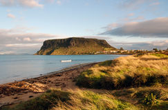 Stanley, Tasmania. The historic village of Stanley in north-west Tasmania is nestled at the base of a sheer-sided bluff called 'The Nut'. It is the remnant of an Stock Photography
