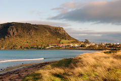 Stanley, Tasmania. The historic village of Stanley in north-west Tasmania is nestled at the base of a sheer-sided bluff called 'The Nut'. It is the remnant of an Royalty Free Stock Photography